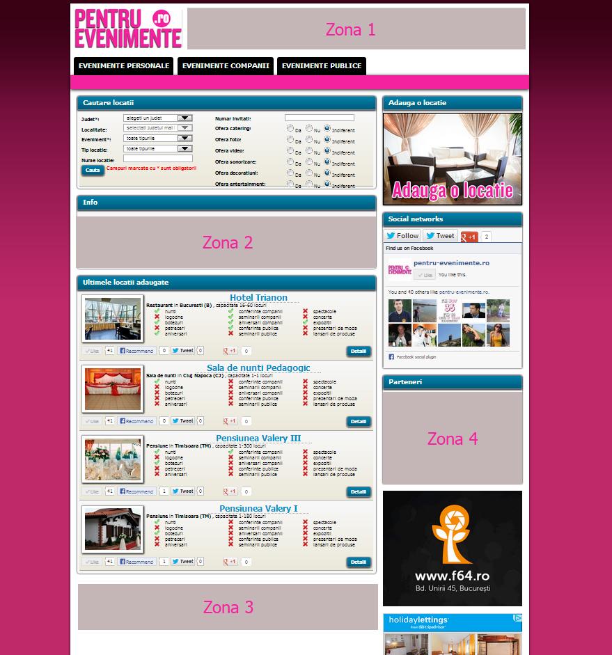Zone de publicitate pe site