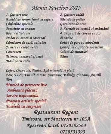 Revelion 2015 la Restaurant Regent